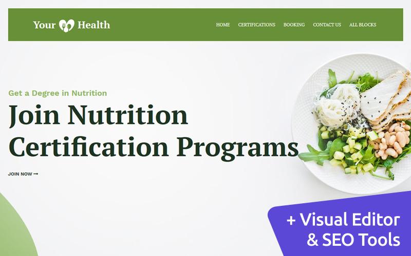 La tua salute - Modello di pagina di destinazione nutrizionale