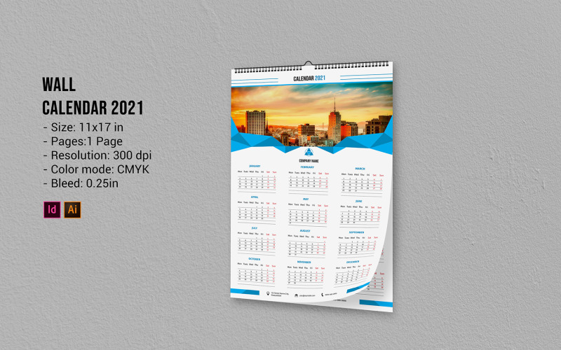 Wall Calendar 2021 - Corporate Identity Template