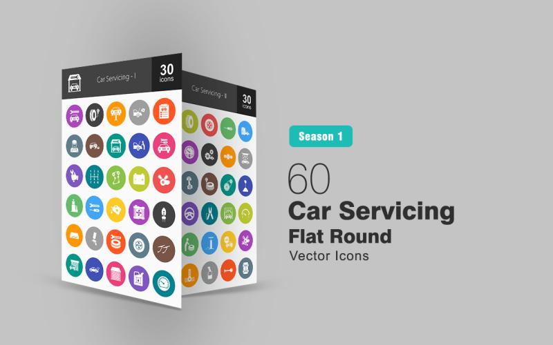 60 обслуговування автомобілів плоскі круглі набір іконок