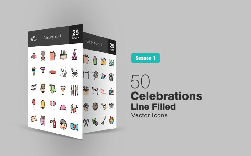 50 Celebrations Filled Line Icon Set
