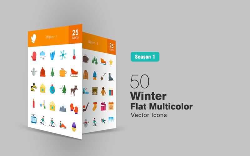 50 зимних плоских многоцветных иконок