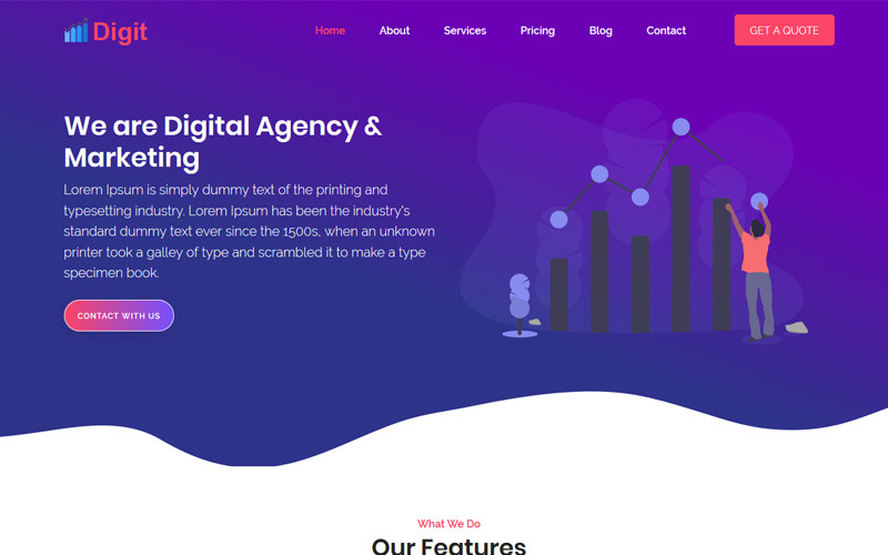 Modèle de page de destination numérique