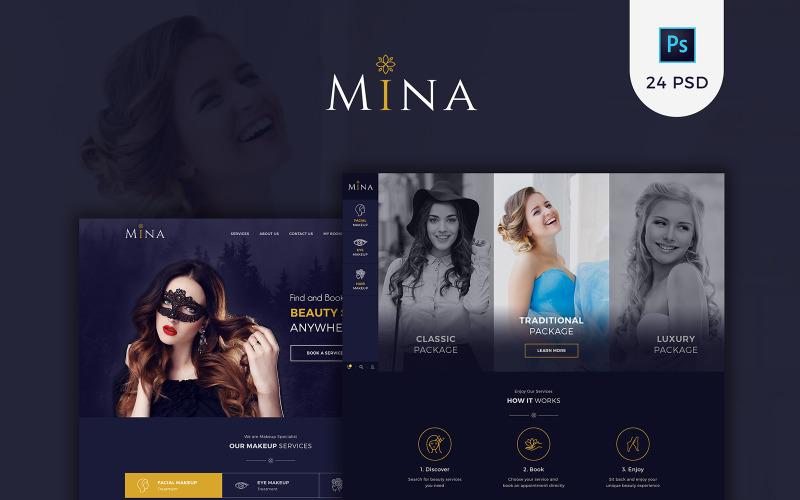 Mina - Modèle PSD de maquillage de salon de beauté