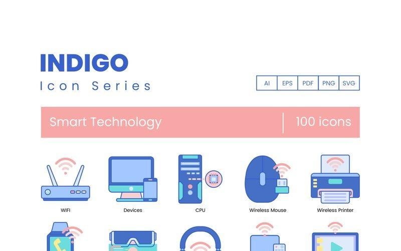 100 iconos de tecnología inteligente - conjunto de la serie Indigo
