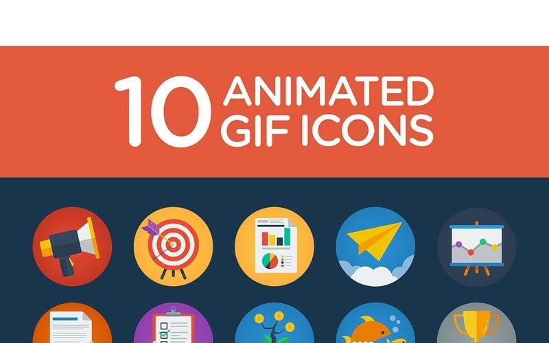 Набор 10 плоских анимированных иконок