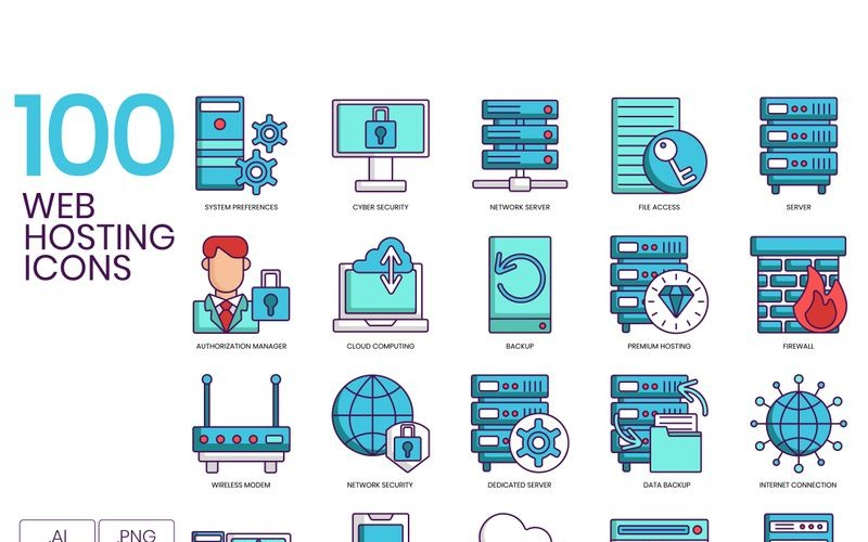100 Web Hosting Icons - Turquoise Series Set