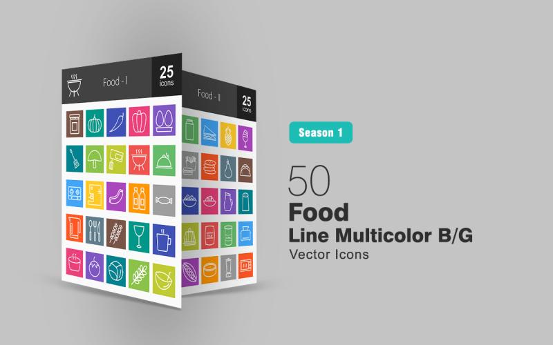 Набор иконок 50 Food Line Multicolor B / G