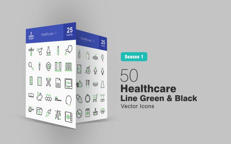 Набор зеленых и черных значков 50 Healthcare Line