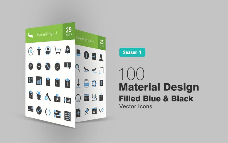 Набор из 100 синих и черных иконок Material Design