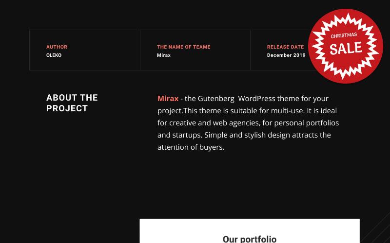 Mirax - тема WordPress для Гутенберга