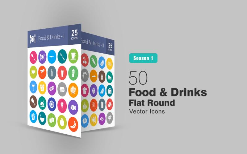 50 продуктов и напитков плоский круглый набор иконок