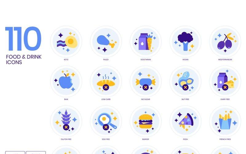 110 alimentos _ bebidas iconos - conjunto de serie lavanda