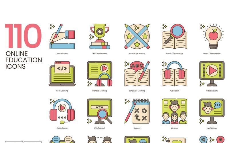110 iconos de educación en línea - conjunto de la serie Hazel