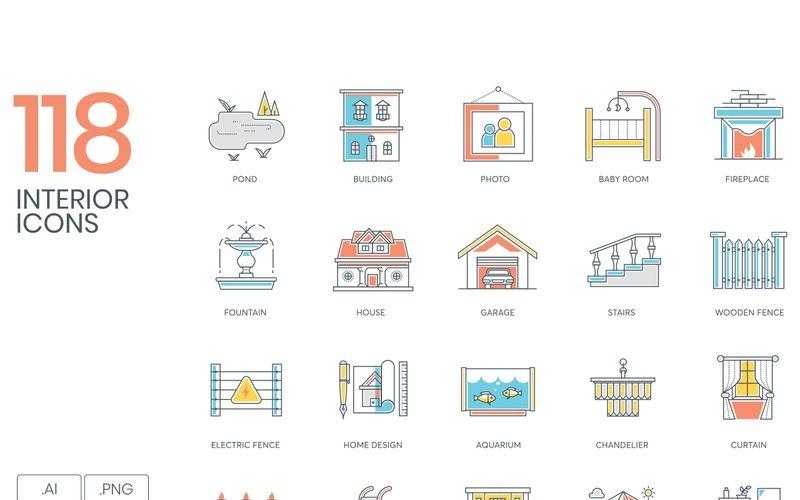 118 интерьерных иконок - набор серии Color Line