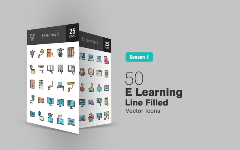 Набор иконок заполненной линии 50 E Learning