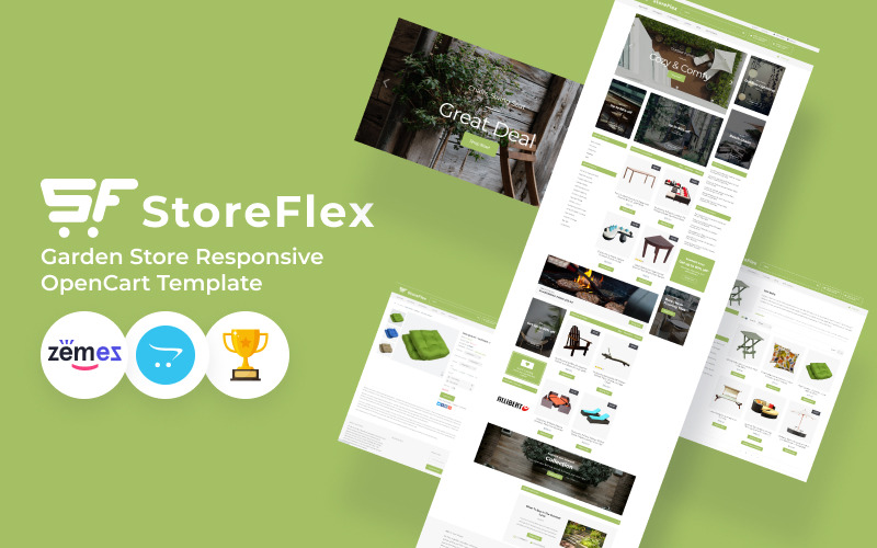 StoreFlex花园商店模板OpenCart模板