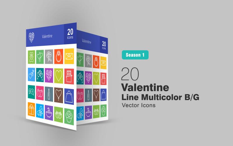 20 Valentine Line Multicolor B/G Icon Set