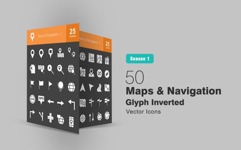 50 наборов перевернутых символов карт и навигации