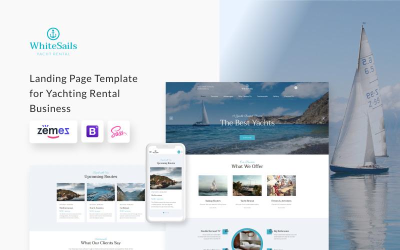 WhiteSails - Modello di pagina di destinazione HTML pulito per noleggio di yacht