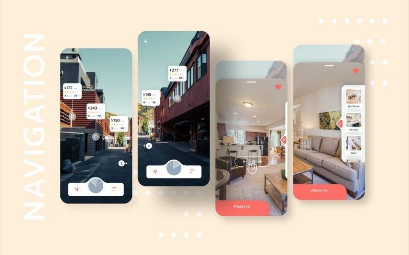 Alquiler de casa con plantilla de boceto de interfaz de usuario móvil de navegación