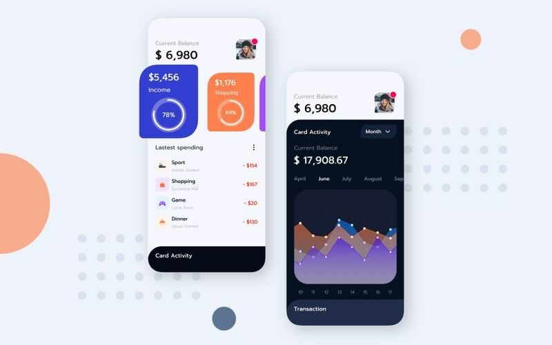 Modèle de croquis du kitG de l'interface utilisateur mobile Finance