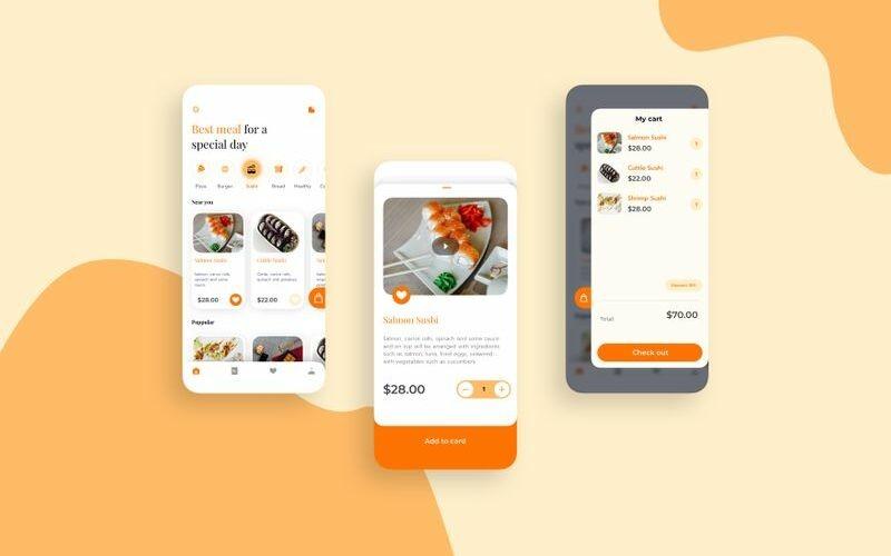 Шаблон эскиза мобильного набора продуктов питания и доставки UI