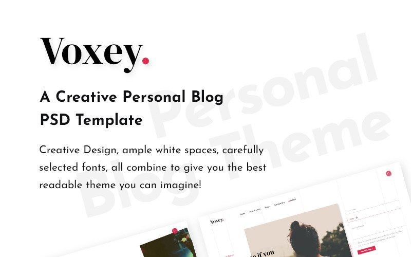 Voxey | Yaratıcı Bir Kişisel Blog PSD Şablonu