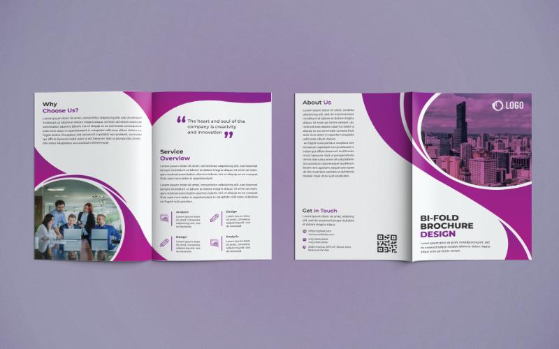 Бизнес-брошюра, сложенная в два сложения - шаблон фирменного стиля
