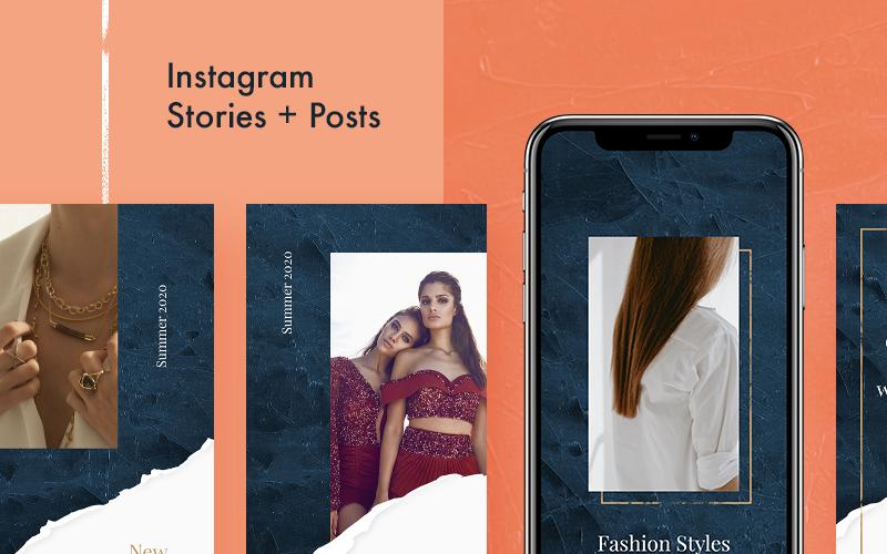 Modèle de médias sociaux de pack Instagram esthétique
