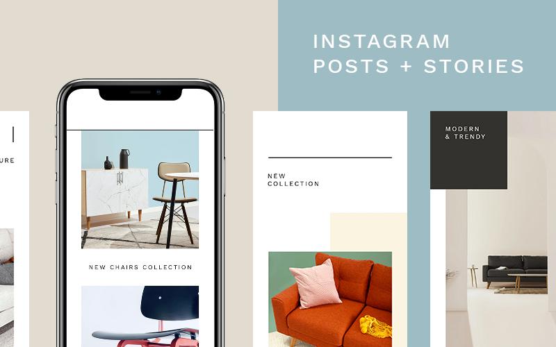 Modèle de médias sociaux de pack de meubles