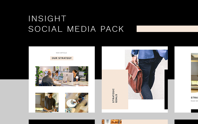 Modèle de médias sociaux Insight Instagram Pack
