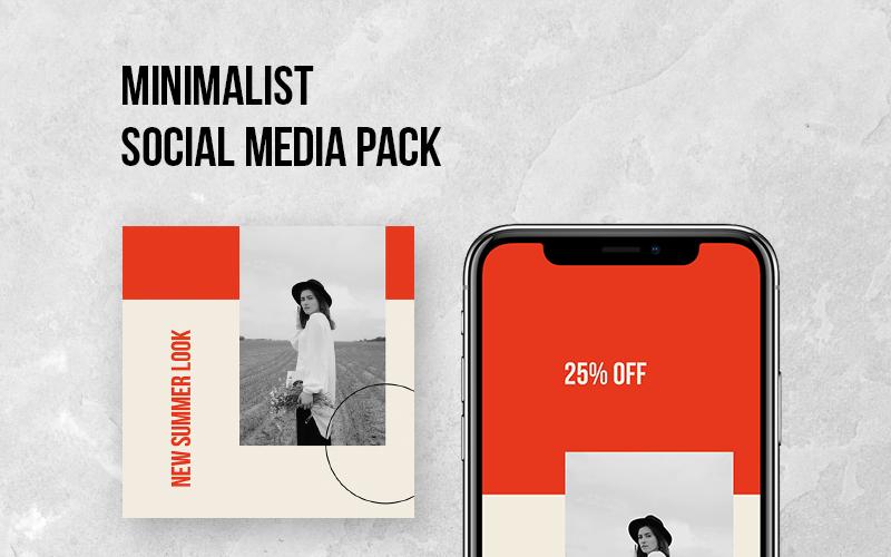 Modèle de médias sociaux de pack social minimaliste
