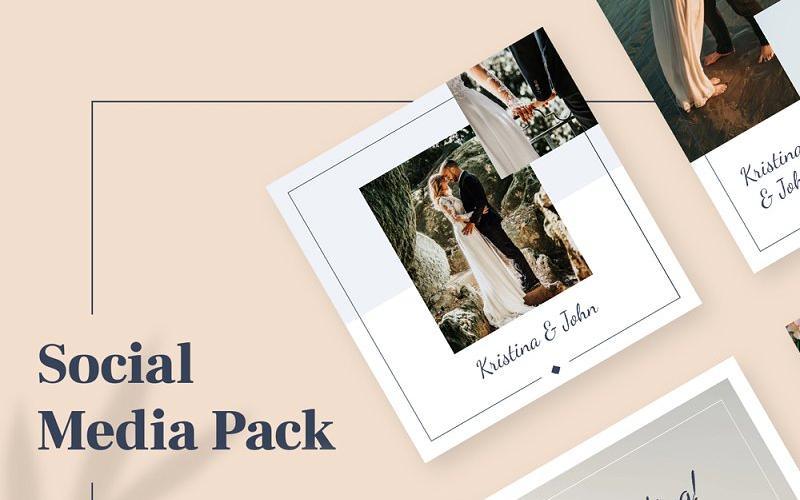 Plantilla de redes sociales para paquete de Instagram de boda