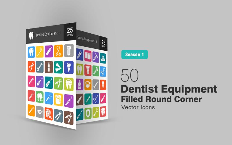 Набор иконок 50 стоматологов с круглым углом