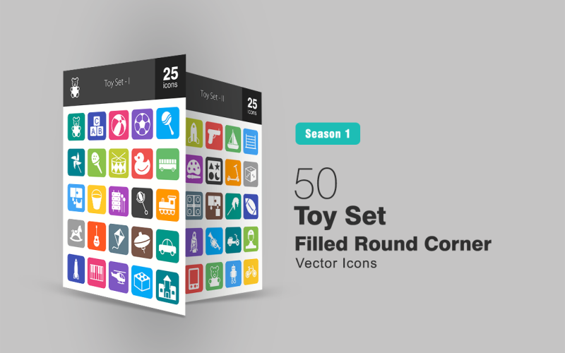 Набор из 50 игрушек с закругленными углами