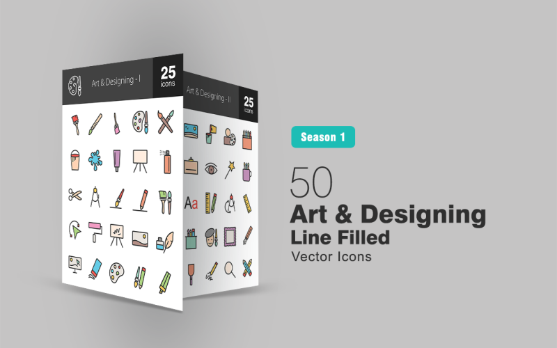 Набор из 50 иконок с закрашенными линиями