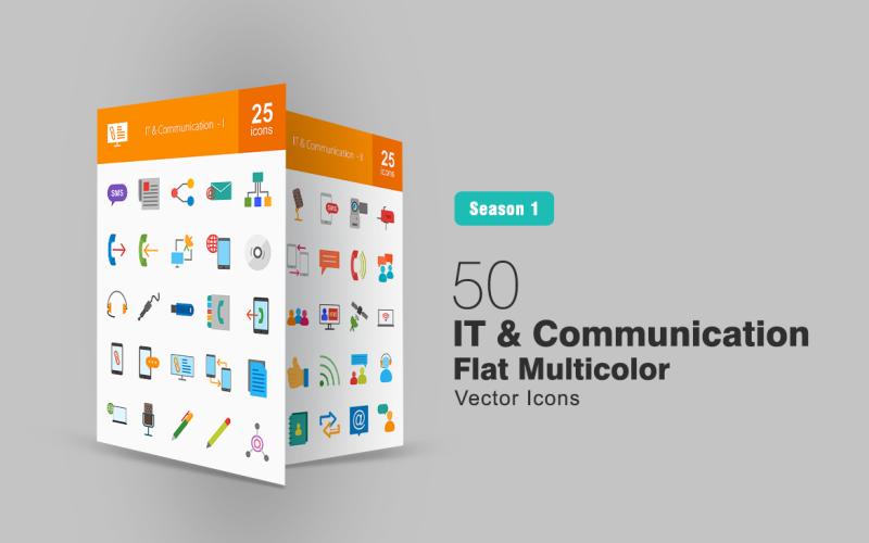 Набор из 50 плоских многоцветных значков ИТ и коммуникаций