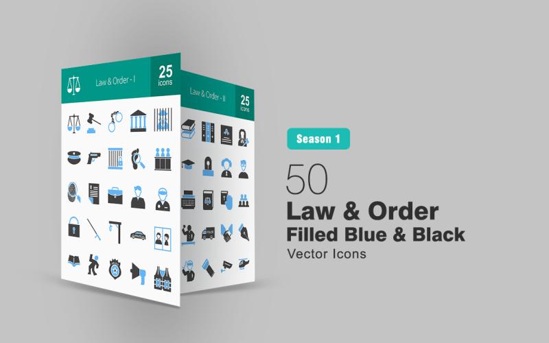 Набор из 50 синих и черных иконок Закон и порядок