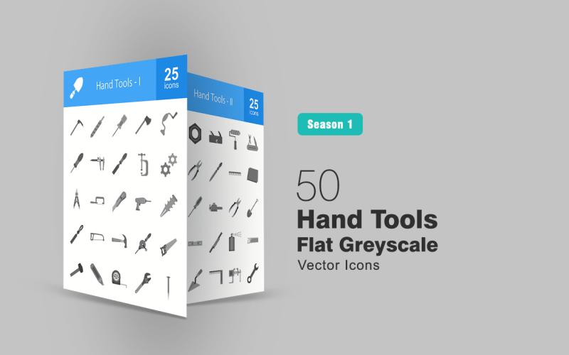 Набор иконок 50 ручных инструментов в градациях серого
