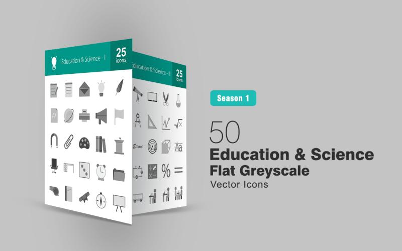 Набор из 50 плоских иконок в градациях серого по образованию и науке