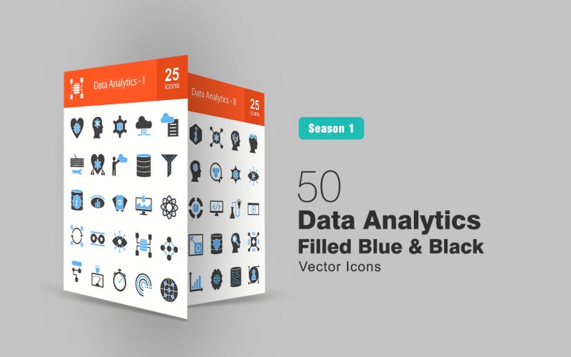 Набор из 50 синих и черных значков аналитики данных