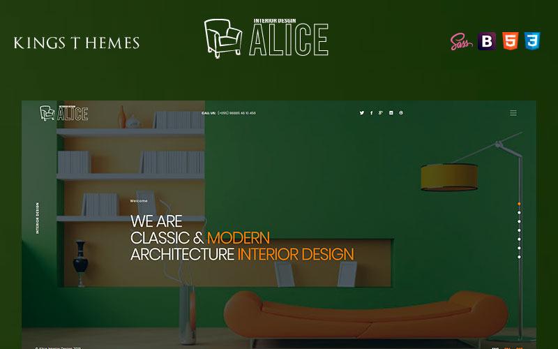 Alice - Landingspaginasjabloon voor interieurontwerp