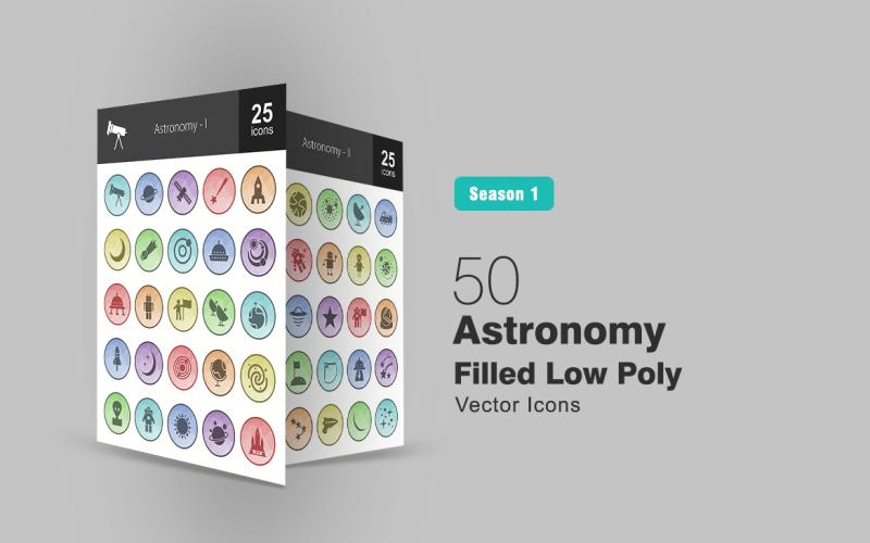 Набор из 50 низкополигональных иконок, заполненных астрономией