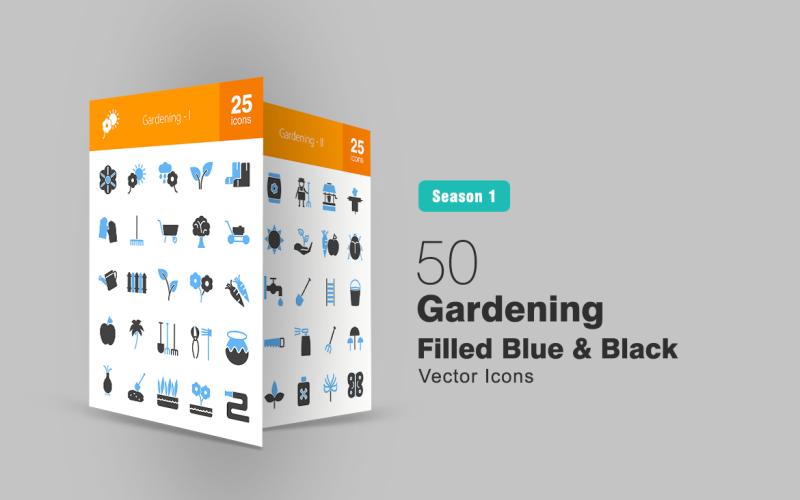 Набор из 50 синих и черных иконок Садоводство