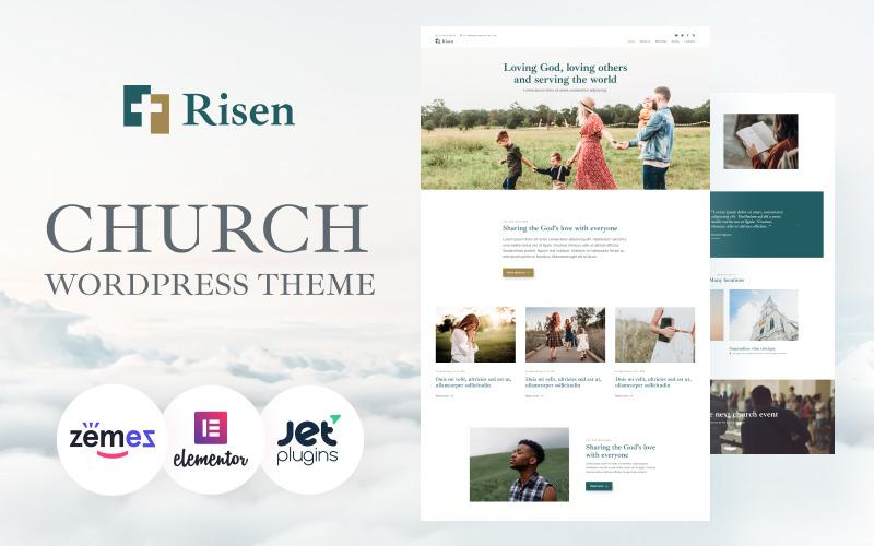 Risen - Tema de WordPress ordenado para la iglesia Tema de WordPress