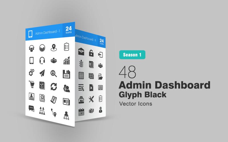 48 Ensemble d'icônes de glyphe de tableau de bord d'administration