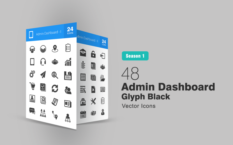 48 Admin Dashboard Glyph Icon Set