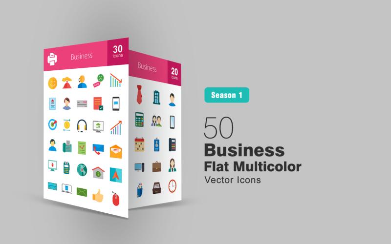 Ensemble d'icônes multicolores plat 50 affaires