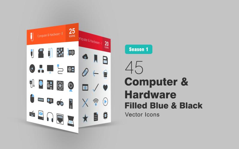 45 Dator- och maskinvarufylld blå och svart ikonuppsättning