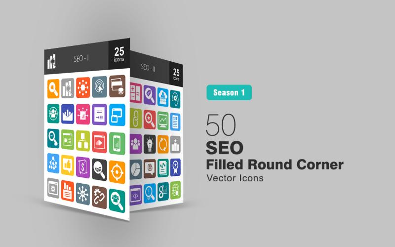 Conjunto de ícones de 50 cantos redondos preenchidos com SEO